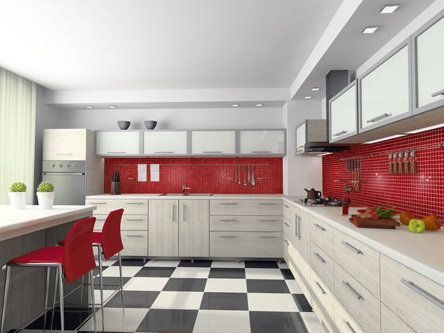 High Quality Stunning Modern Kitchen With The Red Glass Tile Backsplash