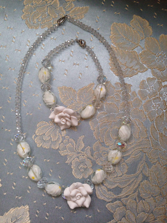 Jewellery set necklace and bracelet crystal rose flowers by JitkasHandmadeGifts on Etsy