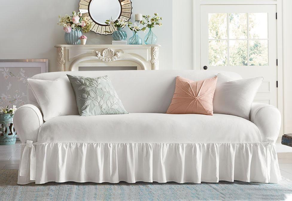 Essential Twill One Piece Sofa Slipcover Home