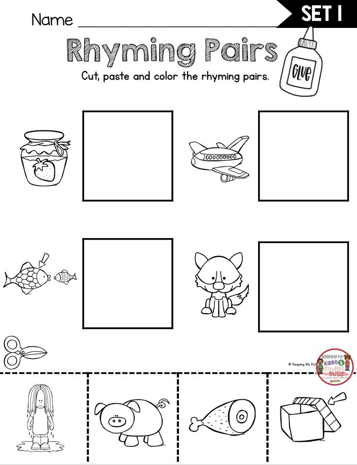 FREEBIE RHYMING ACTIVITIES Kindergarten First Grade Worksheest Printable  Rhyming Activities, Rhyming Words Kindergarten, Rhyming Kindergarten  Worksheets