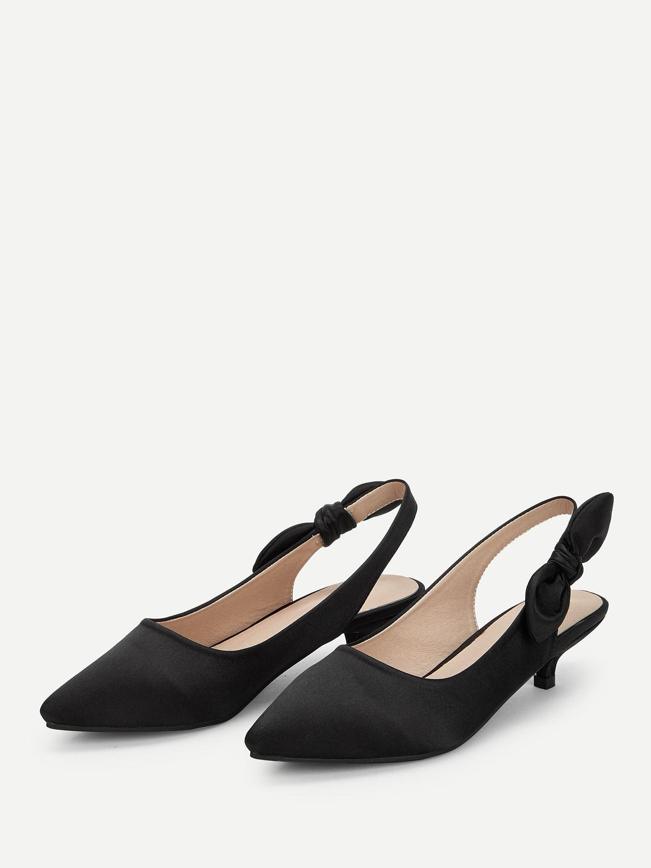 a64e9d644fe Casual Point Toe Plain Slingbacks Black Low Heel Bow Tie Decor ...