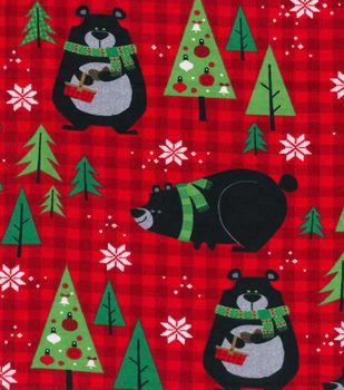 makers holiday fleece fabric 43 bears on plaid