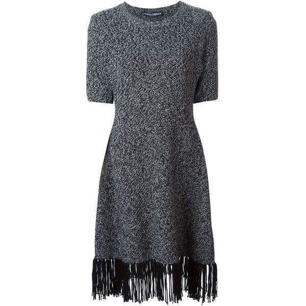 Dolce & Gabbana Fringed Hem Dress ($3,295) ❤ liked on Polyvore featuring dresses, black, cashmere dress, round neck dress, a line dress, dolce gabbana dresses and black ribbed dress