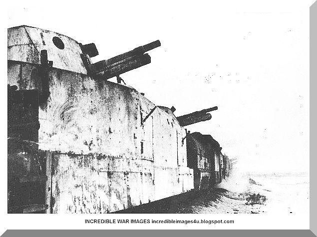 Armoured train in combat: A German armoured train with guns trained on the enemy, Russia February 5th 1942