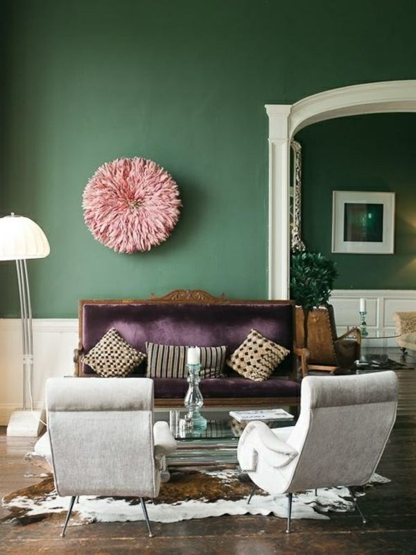 Zimmer Farbgestaltung - frisches Salbeigrün im Innendesign Sage - Wohnzimmer Design Grun