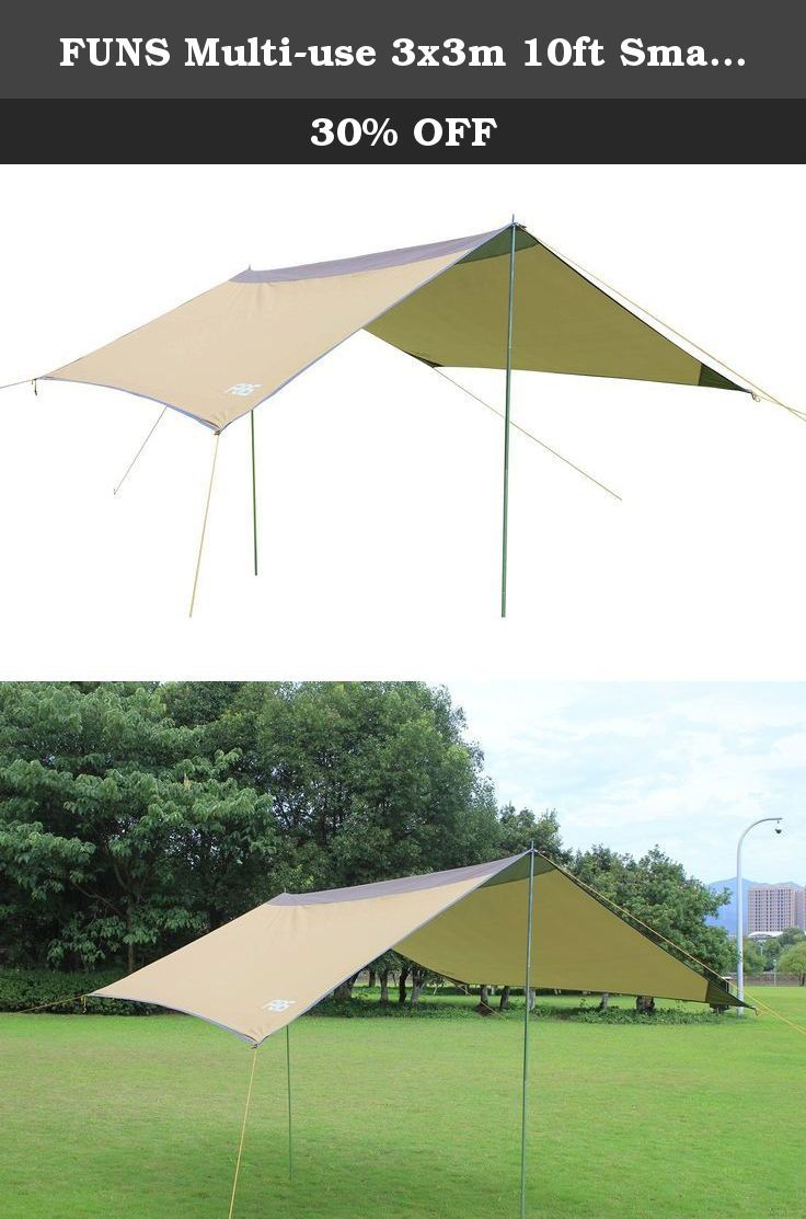 FUNS Multi-use 3x3m 10ft Small Sun Shelter Tarp Rain Tarp Portable Beach Shade : brown canopy tent - memphite.com
