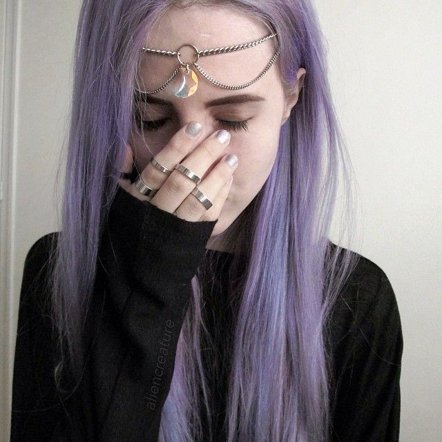 Indie Aliencreature Purple Hair Style Cute Moon Rings Instagram Instagramfamous Grunge Black Tumblr Purple Hair Hair Color Pastel Grunge Hair