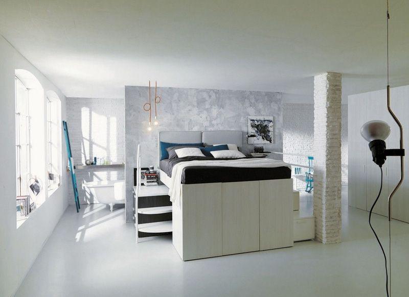 Clever Bed Designs With Integrated Storage For Max Efficiency - schlafzimmer mit dachschräge farblich gestalten