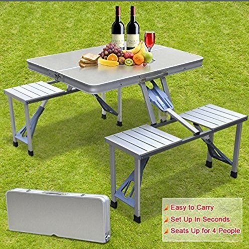 Smartlife Aluminum Portable Folding Suitcase Table With 4 Seats