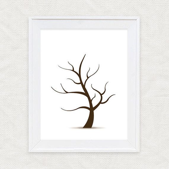 Diy Template Fingerprint Guest Book Tree - Instant Download Pdf