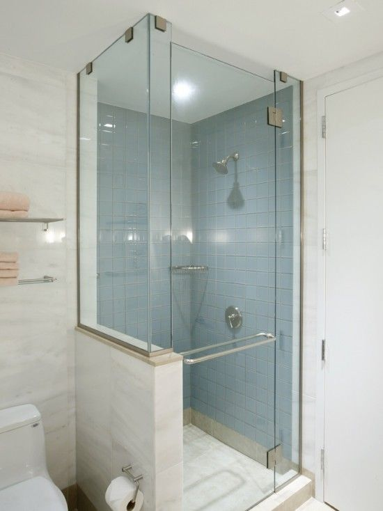 Shower With Half Glass Wall Remove Wall And Separate Toilet Door Room Bathroom Remodel Shower Redesign Small Bathroom Small Bathroom Inspiration