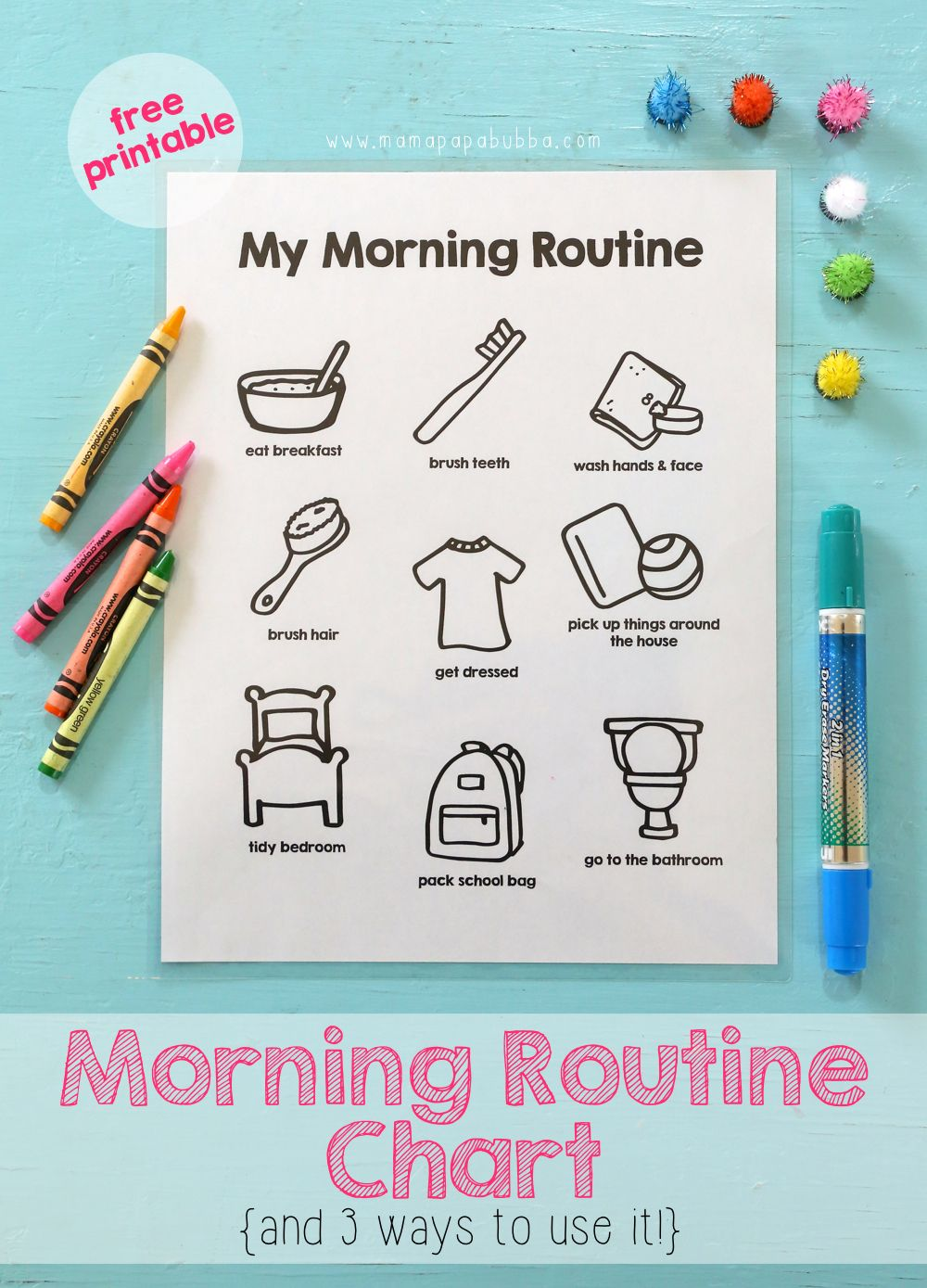 It is a picture of Superb Free Printable Morning Routine Charts With Pictures