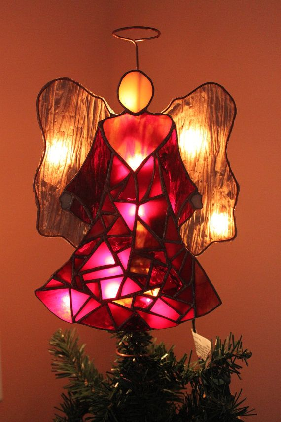 Mosaic Angel of Lights Christmas tree topper by glassgallerygirls