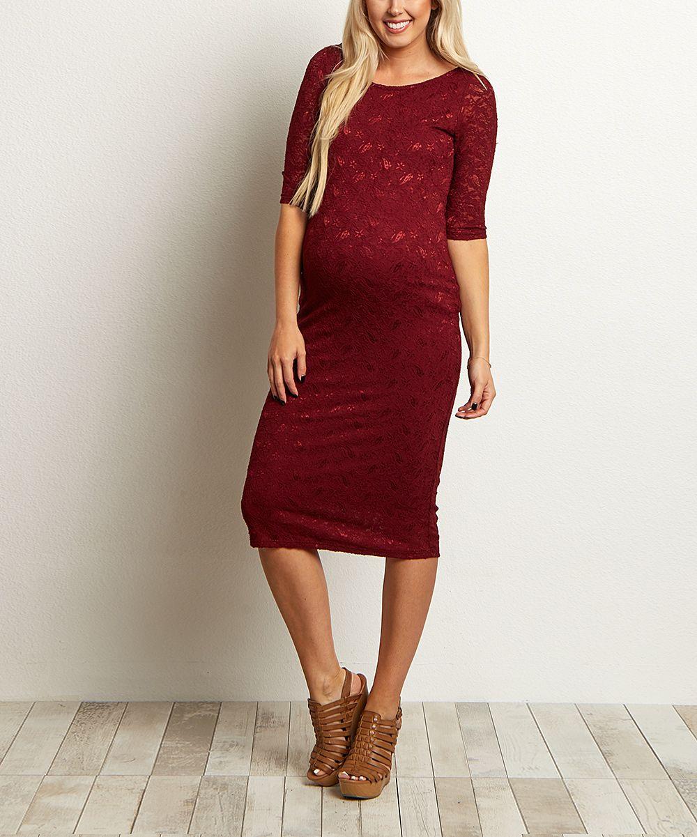 PinkBlush Burgundy Lace Maternity Dress