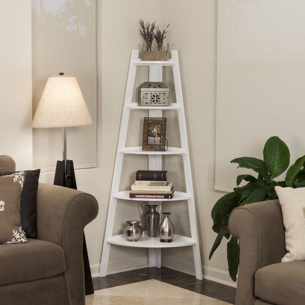 Danya b white tier corner ladder display bookshelf white