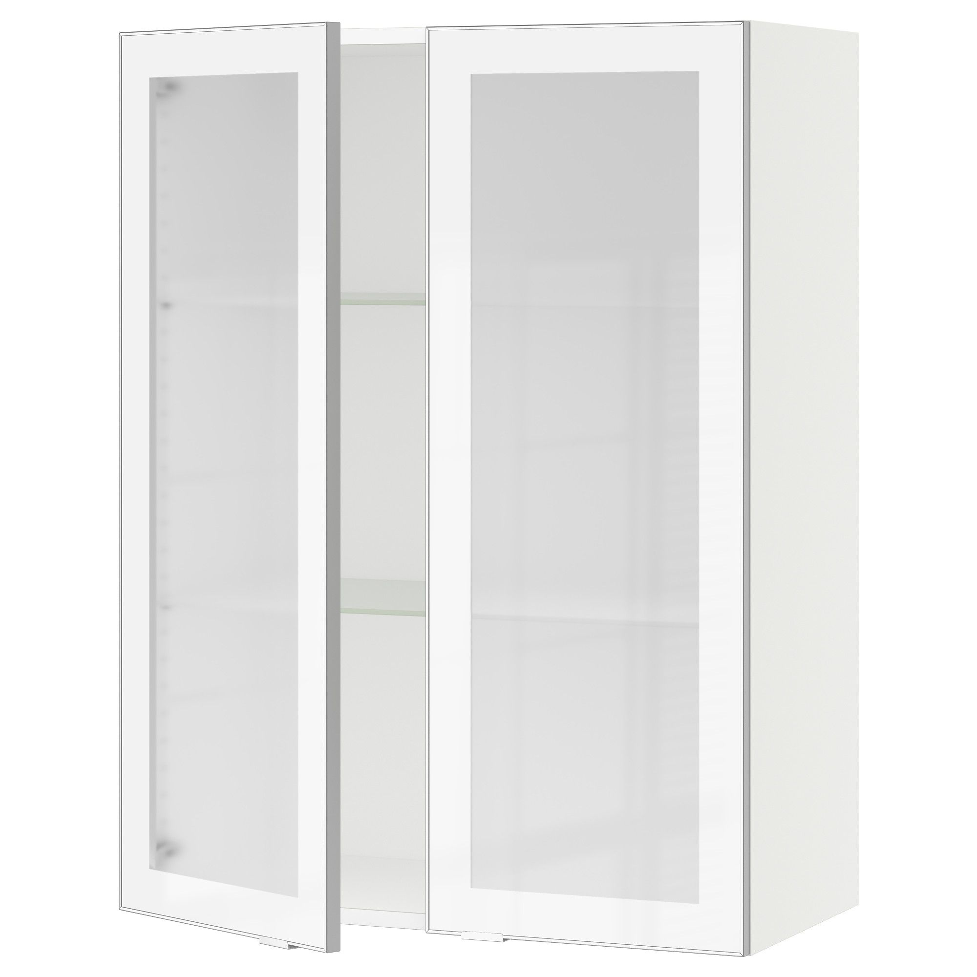 Sektion Wall Cabinet With 2 Glass Doors White Jutis Frosted Glass