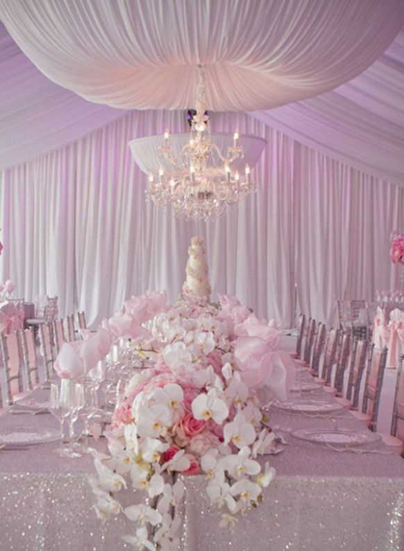 Light Pink Reception Decorations Wow I Love And Silver Together The Beautiful Flowers Sparkly Table Cloth D Makes This Just Spectacular