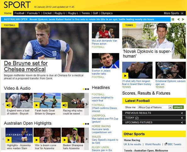 Love The New Bbc Sport Site Great Use Of Colour And Love The Wider Layout