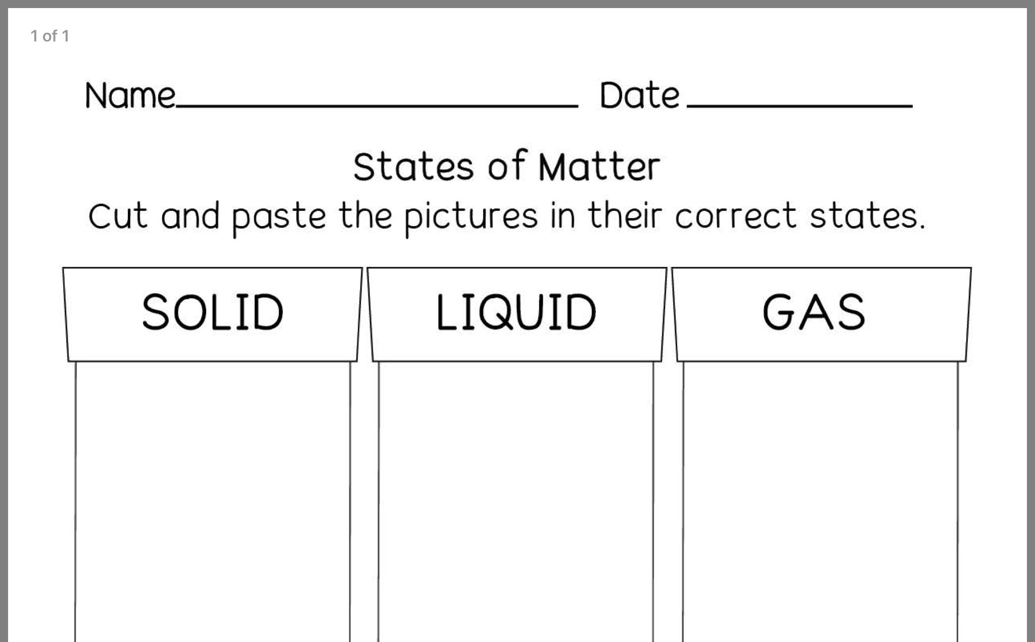 Pin By Charlotte Alexandrou On States Of Matter States Of Matter Science Worksheets Preschool Science