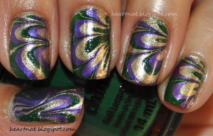 Mardi Gras Nail Art Designs | Mardi Gras Water Marble - Nail Art ...