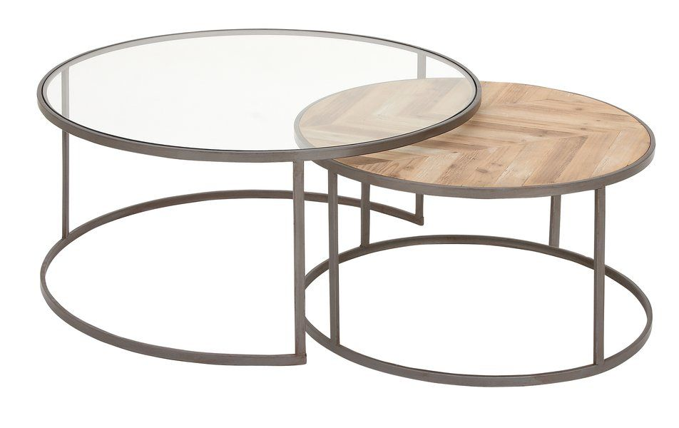 Orkney Contemporary 2 Piece Coffee Table Set Round Coffee Table Sets Nesting Coffee Tables Coffee Table Wood Glass nesting coffee tables