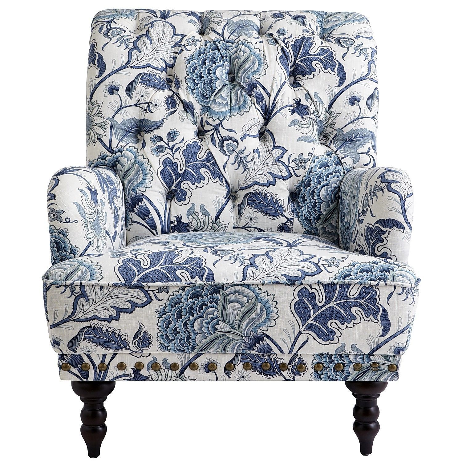 Best Chas Indigo Blue Floral Armchair Shabby Chic Table 400 x 300