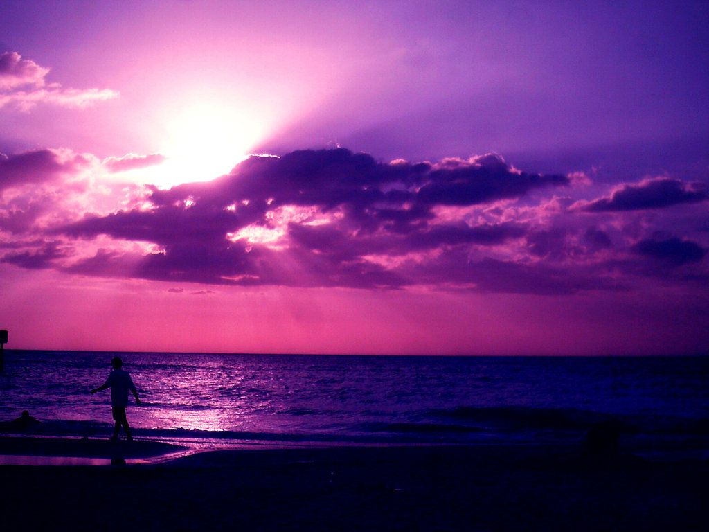 Pink Beach Sunset Wallpaper: Sunset On The Beach By ~ Mylifehere