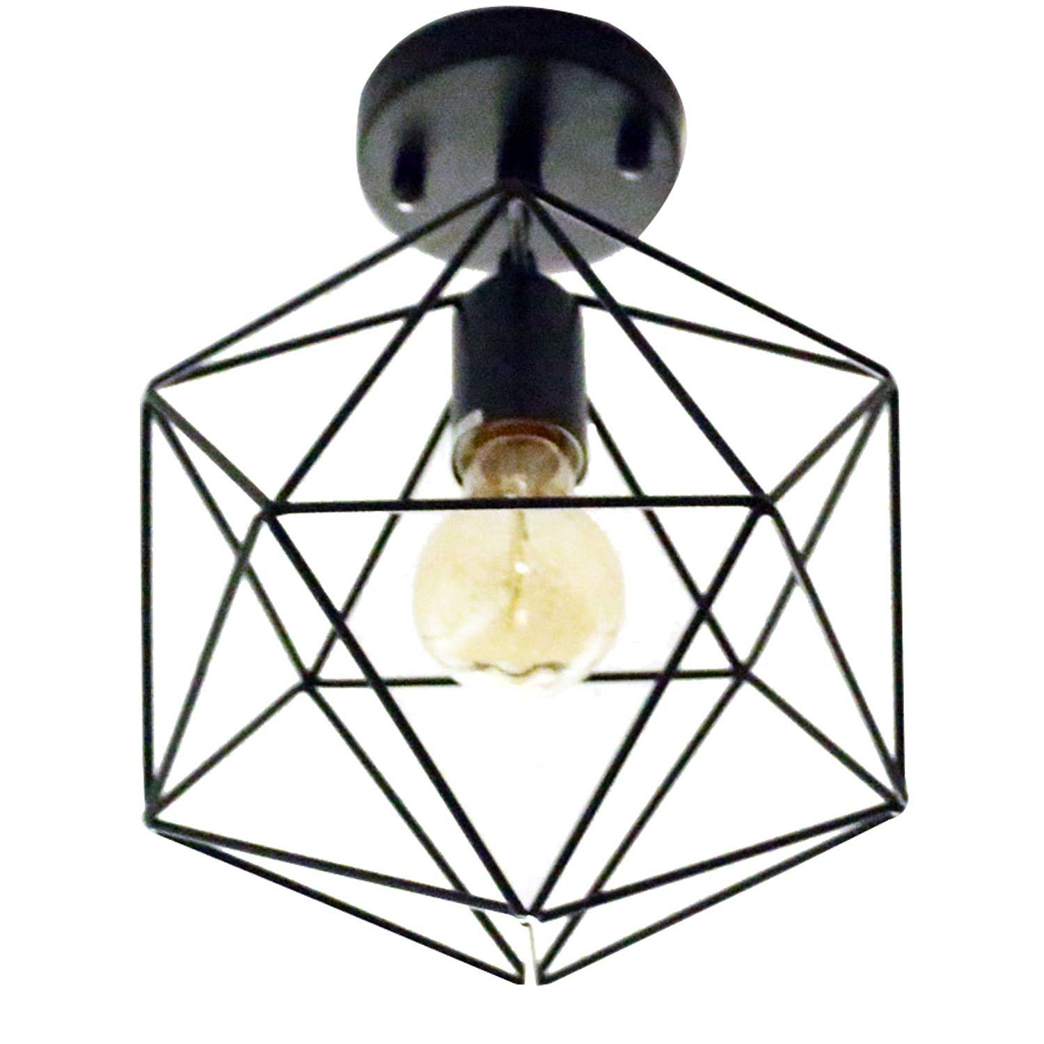 Unitary brand antique black metal cage shade semi flush mount unitary brand antique black metal cage shade semi flush mount ceiling light with 1 e26 bulb arubaitofo Images