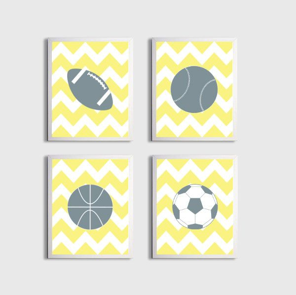 Nursery Sports Football Basketball Baseball Art Chevron Boy Girl ...