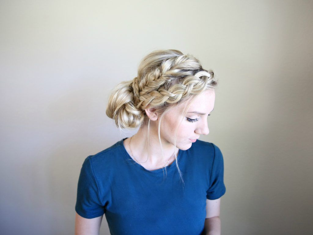 Mixed braid bun cute girls hairstyles hair pinterest girl