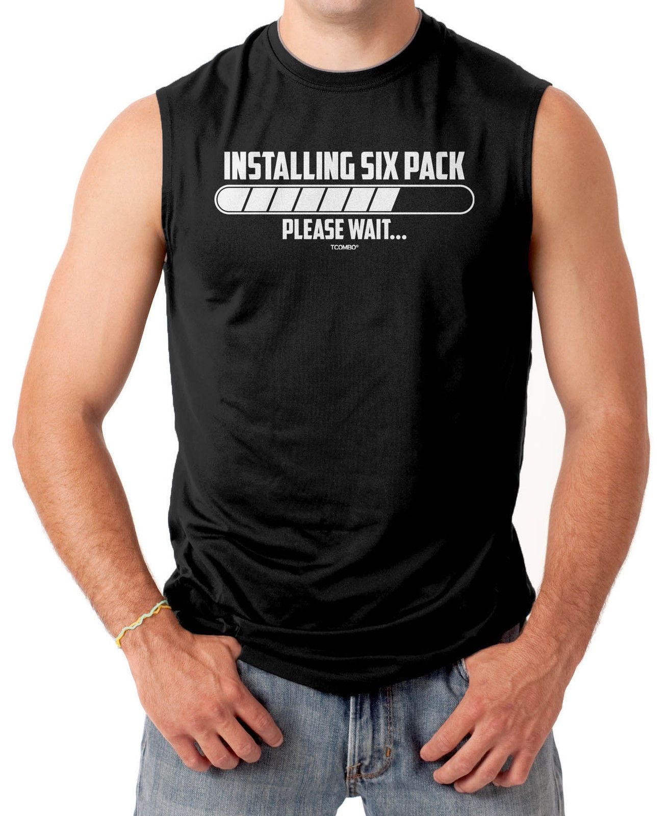 ba55903b Installing Six Pack...Please Wait - Gym Workout Men's Sleeveless T-Shirt