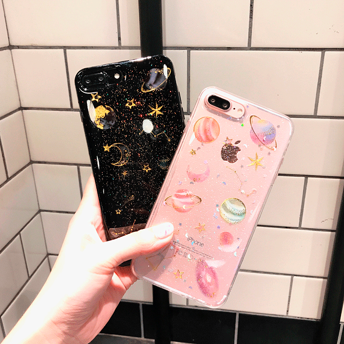 Itgirl Shop Transparent Silicone Planets Glitter Iphone Case Aesthetic Apparel Tumblr Clothes Soft Glitter Iphone Case Iphone Transparent Case Glitter Iphone