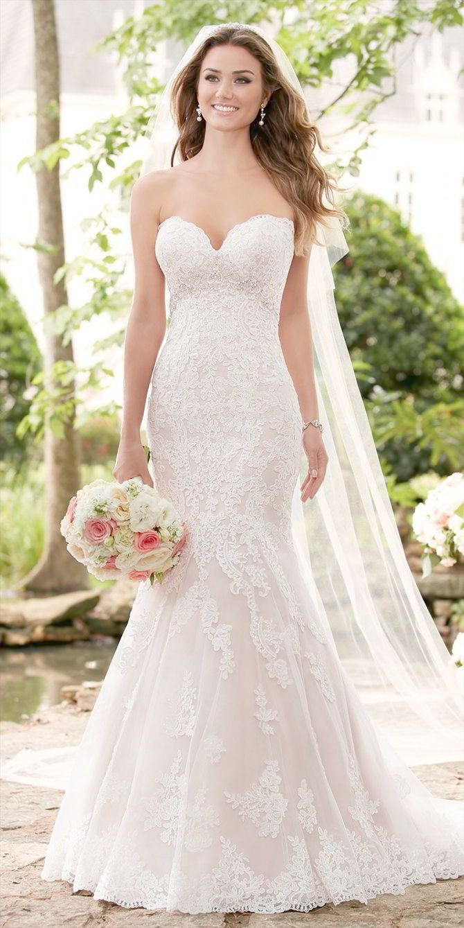 Lace bodice a line wedding dress boho lace strapless wedding dress
