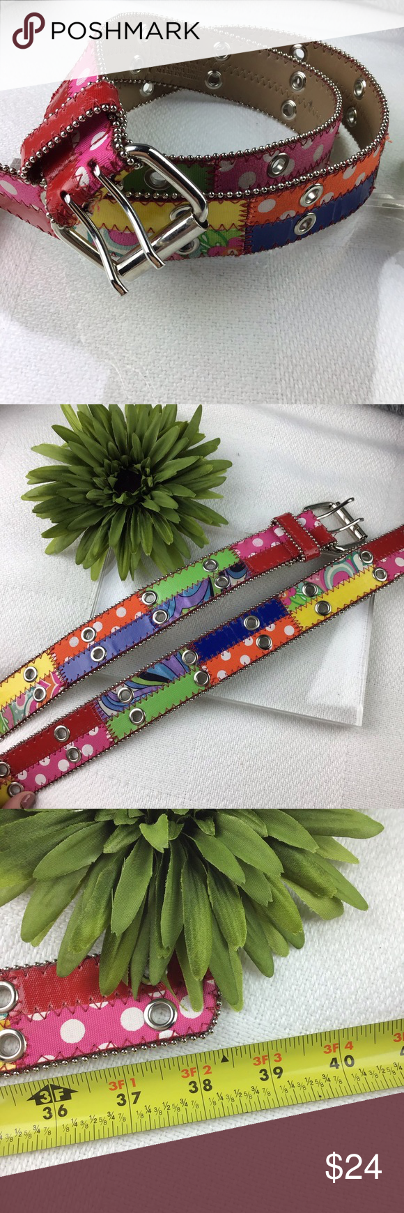 EUC Womens 38 colorful mixed media Small Belt Leather belt with patches of EUC Womens 38 colorful mixed media Small Belt Leather belt with patches of colorful fabrics