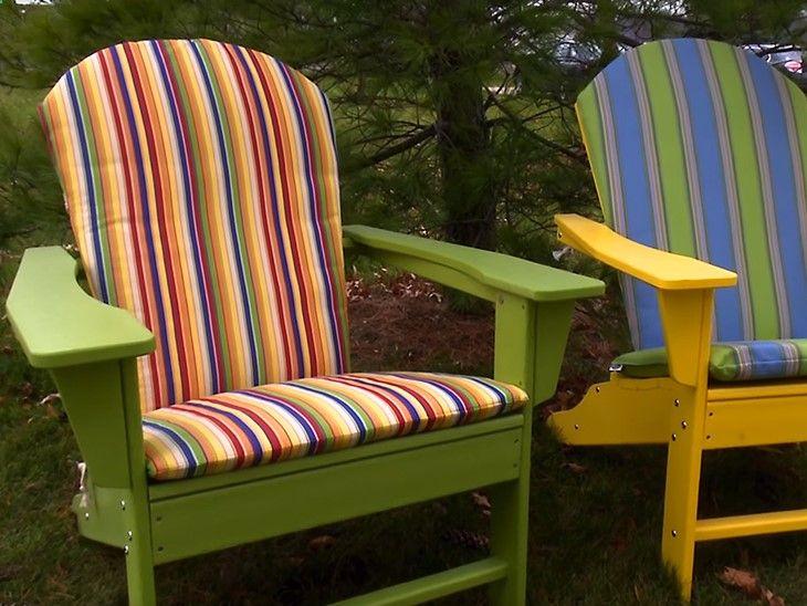 Finished, hinged Adirondack chair cushion