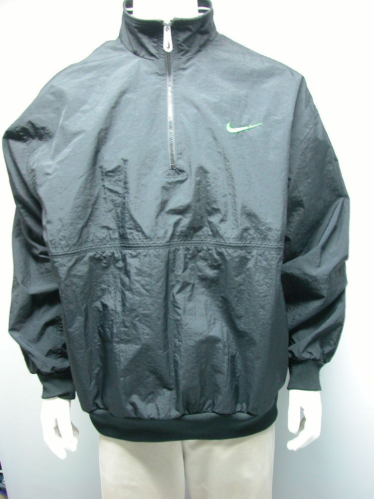 9375e3092c Vintage NIKE Black Jacket Windbreaker Pullover Half Zip XXL 2 Pockets Nylon  EUC  Nike  WINDBREAKER