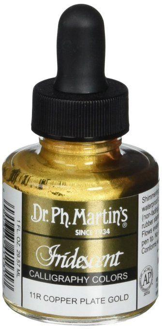 Dr. Ph. Martin's Iridescent Calligraphy Color, 1.0 oz, Copper Plate Gold (11R)