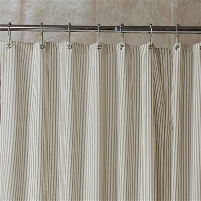Farmhouse Shower Curtain Ticking Stripe