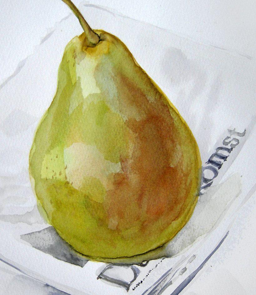 Lonely Green Pear on a newspaper original par VerbruggeWatercolor