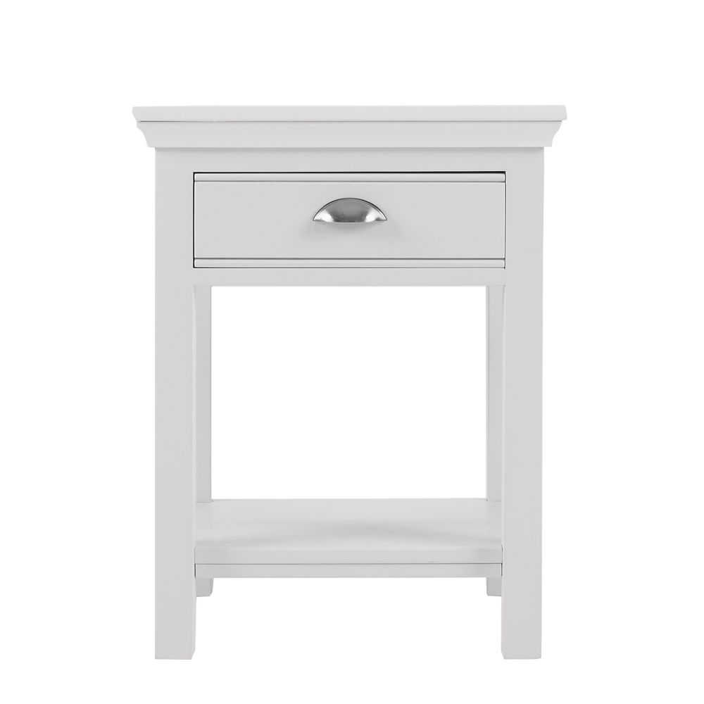 Nouveau White Wood Bedside Table Furniture Design Ideas Alternative With  Single Drawers Space And Beautiful High Style Four Legs