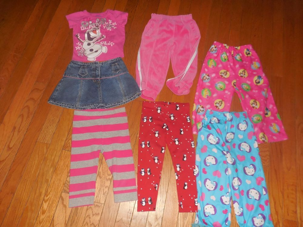 Lot Girls size 3T clothes Disney Dress tops leggings ...
