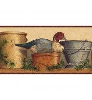 Burgundy Tan and Blue Lodge Coffee Pot Wallpaper Border