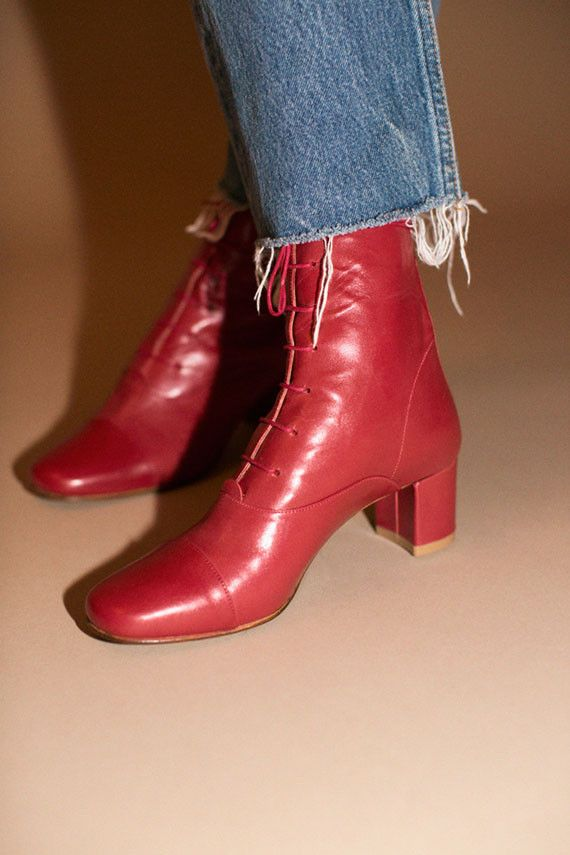 2d76822cbad2 By Far Shoes - Red Lada Ankle Boot