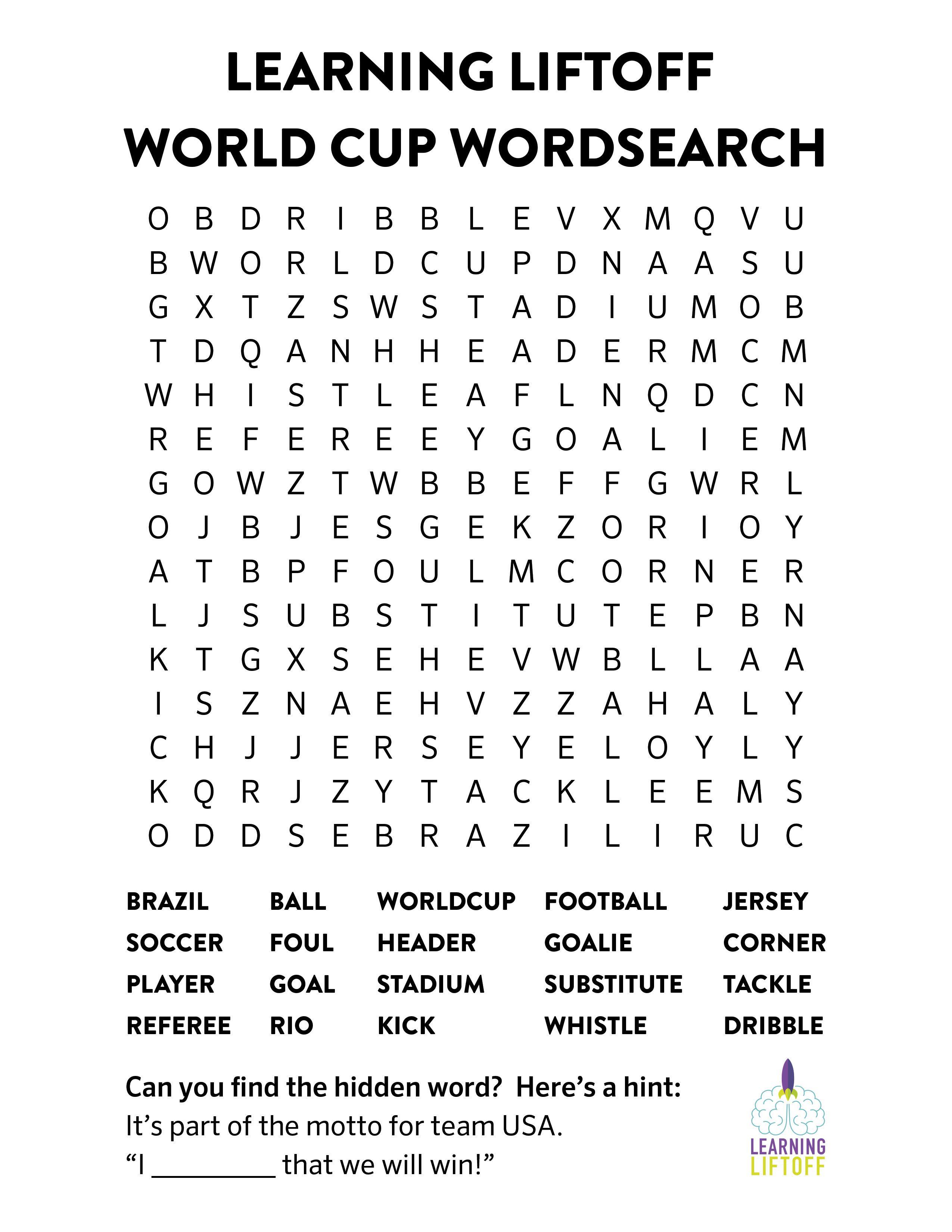 Printable World Cup Word Search Free printable