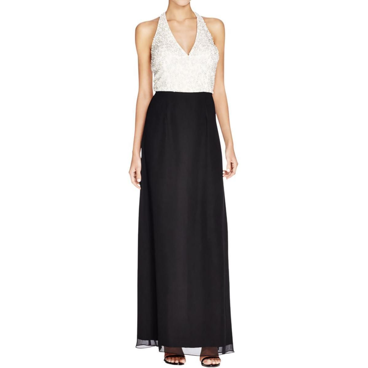 Awesome amazing aidan mattox womens blackivory chiffon semi