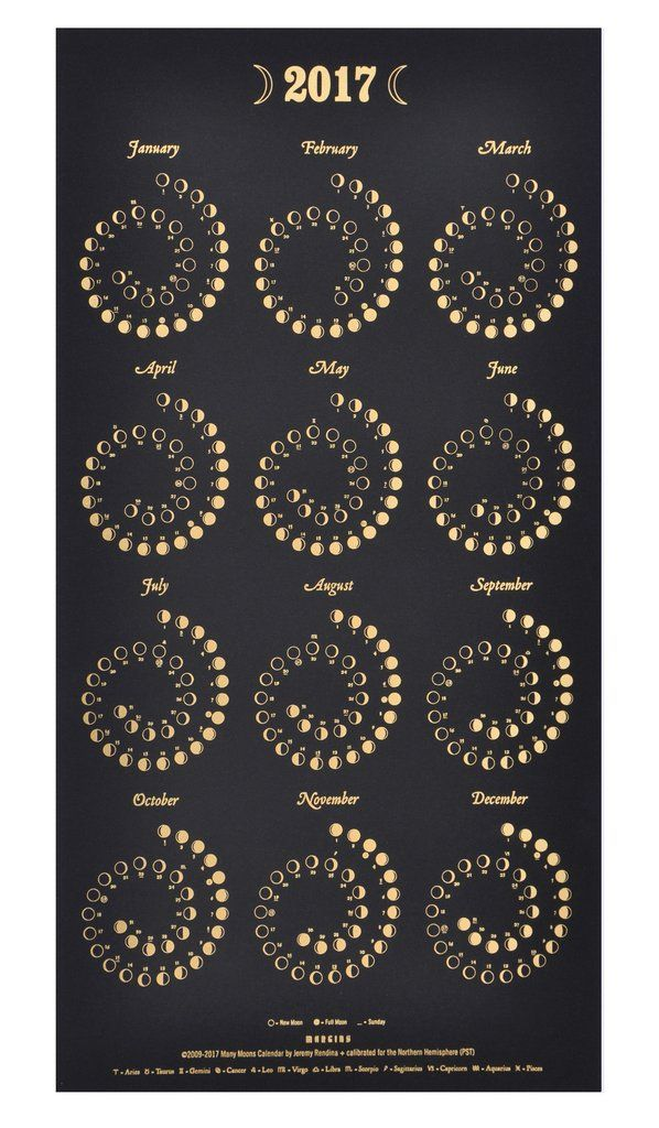 Moon Phases 2019 Calendar Print White Gold Moon Phases Moon