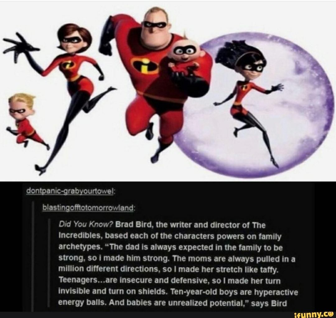 Dontpanic Grabyourtowel Blastingofftotomorrowland Did You Know Brad Bird The Writer And Director Of The Incredibles Based Each Of The Characters Powers On Fa In 2021 Disney Funny Disney Facts Disney Pixar