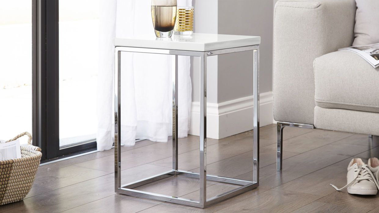 Acute White Gloss And Chrome Side Table 89 00