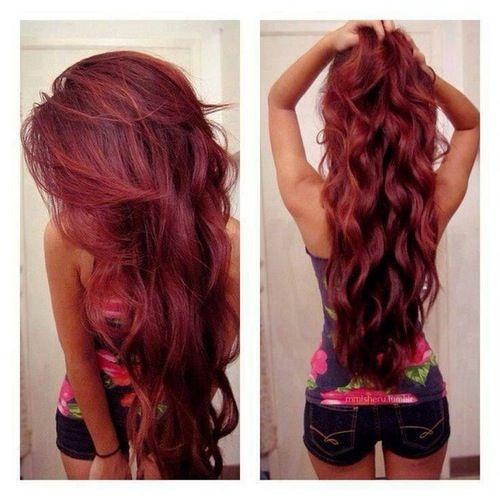 Cute Dark Red Hair Hairdye Long Hair Pretty Red Want Hair