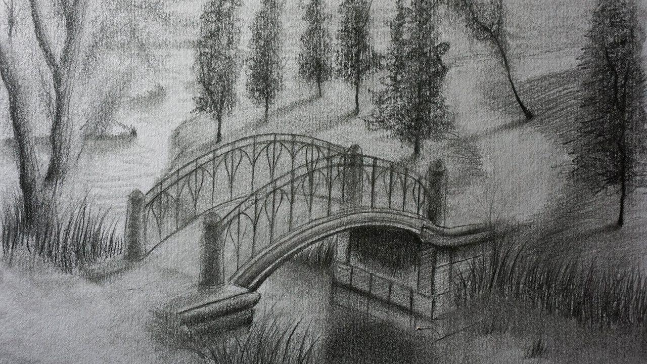 Como Dibujar Un Puente A Lapiz Paso A Paso Paisaje Para Ninos Paisaje A Lapiz Dibujos Paisajes A Lapiz Puentes Dibujo